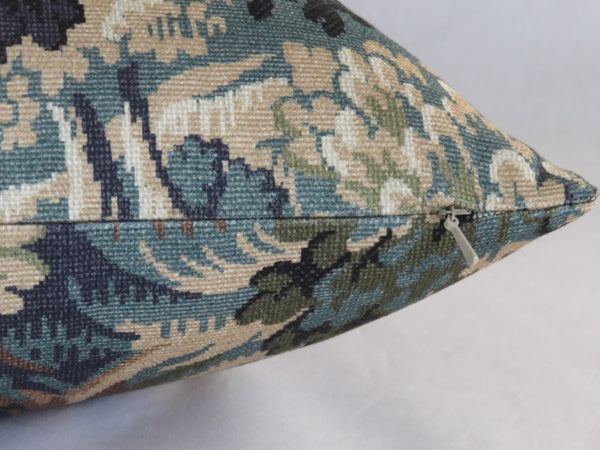 trees and leaves print pillow cover green blue brown tones