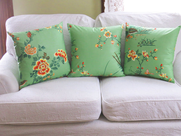 jade green asian pillow cover with birds & flowers