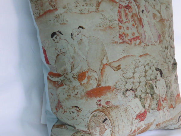 Thai Pictorial Pillow Cover - Jim Thompson Fabric,  Jim's Dream, Family with Children A