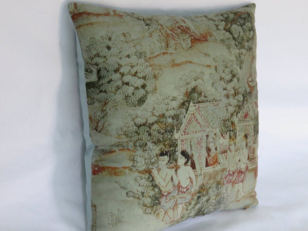 Thai Pictorial Pillow Cover - Jim Thompson Fabric,  Jim's Dream, Procession E