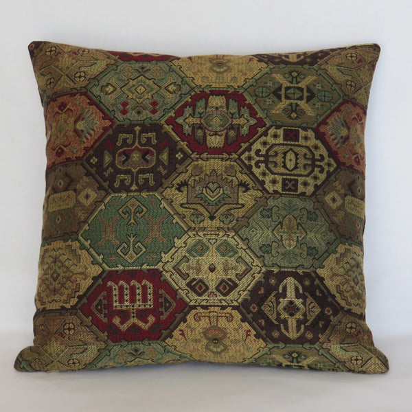 kilim brocade pillow cover in green red and gold