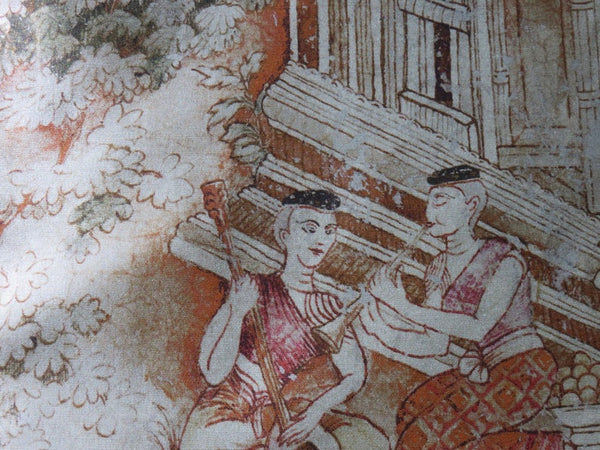 Thai Pictorial Pillow Cover - Jim Thompson Fabric,  Jim's Dream, Feast Scene B