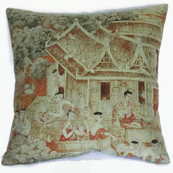 jims dream green thai silk pillow cover