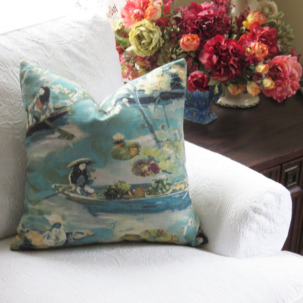 bangkok lagoon teal pillow cover
