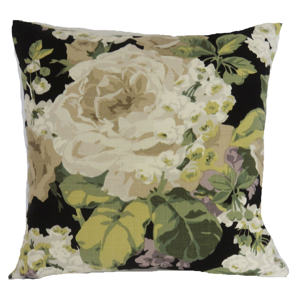 large cream floral black linen pillow cover