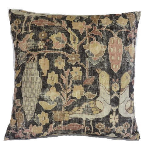 black grey tan kilim print pillow cover, locanda