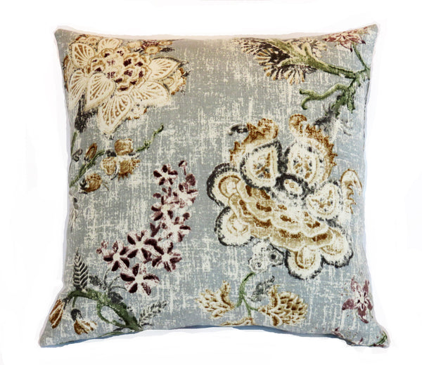 Grey Indienne Floral Pillow Cover, P. Kaufmann Majestic Pearl