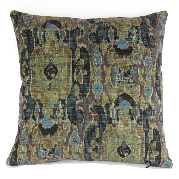 olive teal black ikat pillow cover