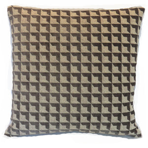 Grey and beige optical square chenille pillow cover