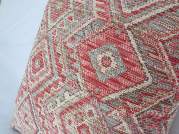 southwest kilim style pillow in orange and aqua