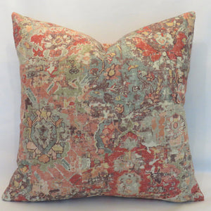 orange aqua southwest barkcloth pillow cover vilpas