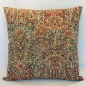 Orange and Brown Paisley Pillow Cover,  Kaufmann Legacy Pompeii