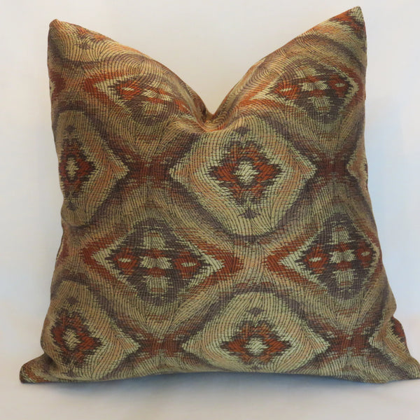 orange gold brown brocade pillow cover southwest diamond