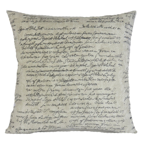 Waverly scripted putty print pillow cover