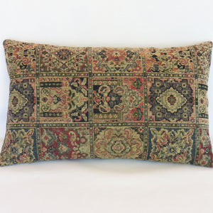 Navy, Tan, Red Tapestry Pillow Cover