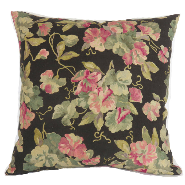 Pink geraniums on black linen pillow cover