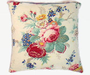 "Ralph Lauren Garden Club Pillow Cover, 17"" Colorful Floral on White"