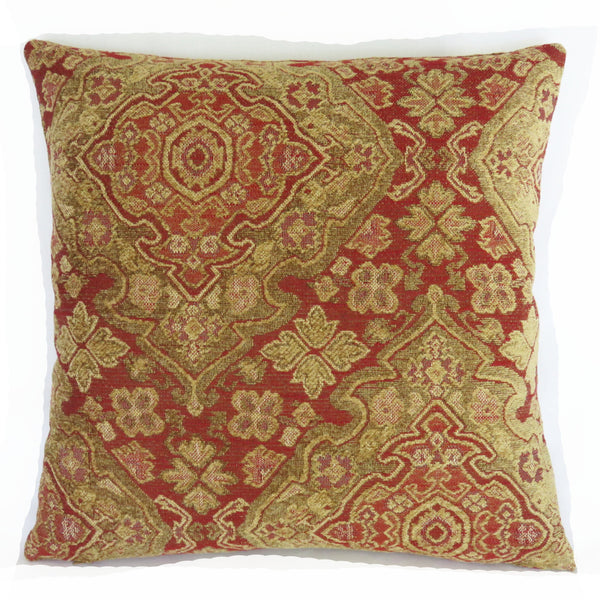 Tomato red and gold pillow cover medallion chenille tapestry