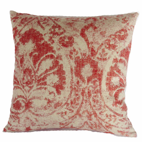red distressed medallion linen pillow cover