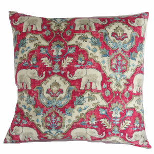 Bright red turquoise elephant pillow cover