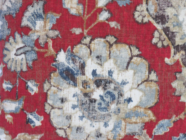 red blue floral linen pillow covington nottingham