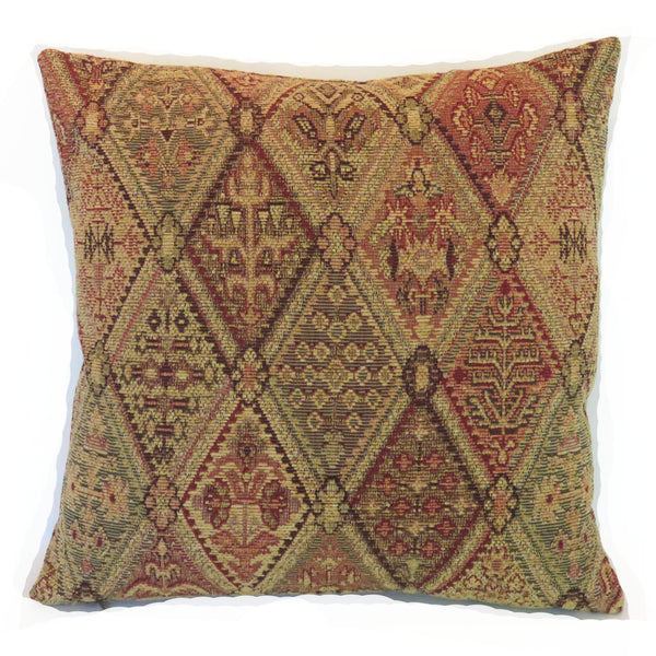 gold and red kilim style chenille pillow