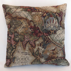 map tapestry pillow cover, vintage look in brown red blue