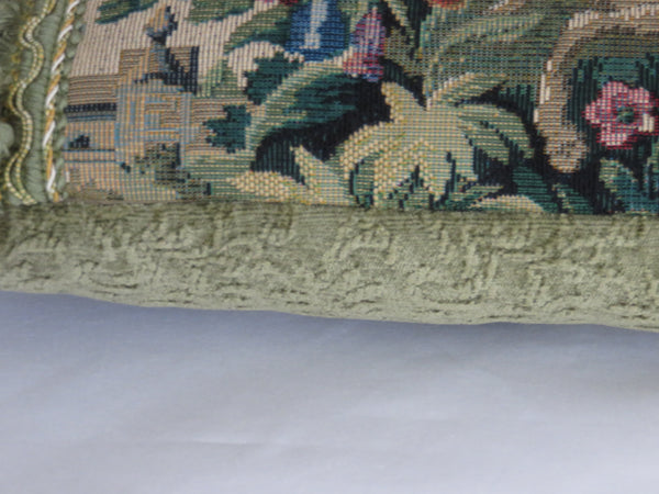 Verdure tapestry pillow cover with tassels