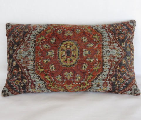 rust and blue carpet style lumbar pillow cover
