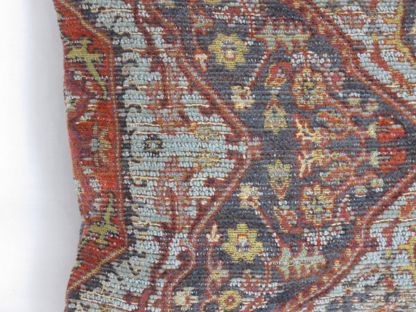 rust and blue carpet style medallion lumbar pillow cover