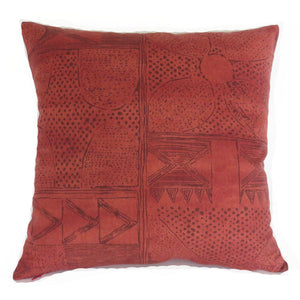 Rust Block Print Pillow Cover, Robert Allen Cassava in Cinnabar