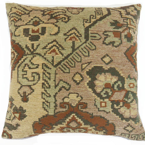 rust tan green southwest kilim pillow cover