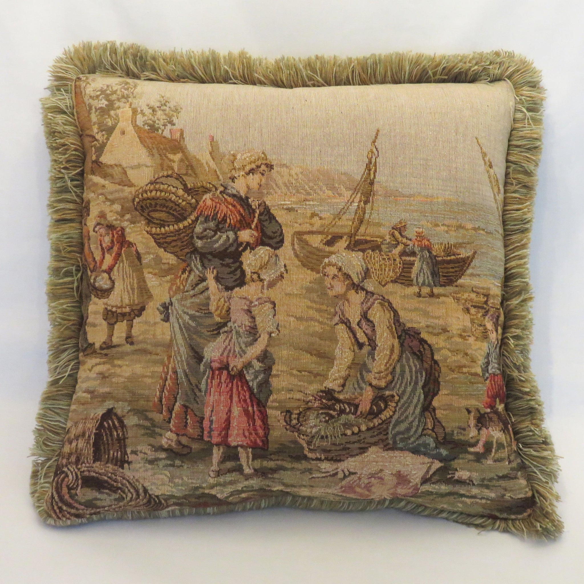 Scenic seaside tapestry pillow cover