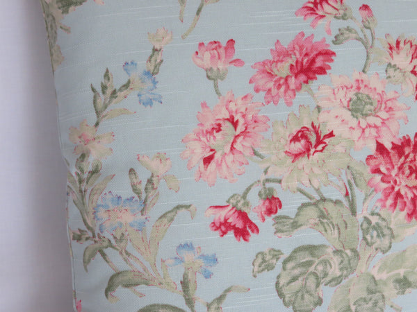 Sky Blue and Pink Floral Pillow Cover,  Duralee Cotton Print