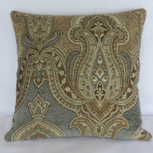blue grey and tan paisley medallion pillow cover