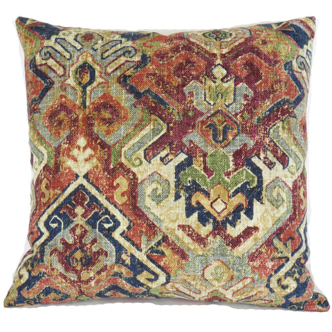 navy and maroon southwest print pillow cover