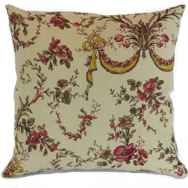 tan linen floral pillow cover with red roses