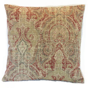 art deco paisley pillow cover in red, tan, blue
