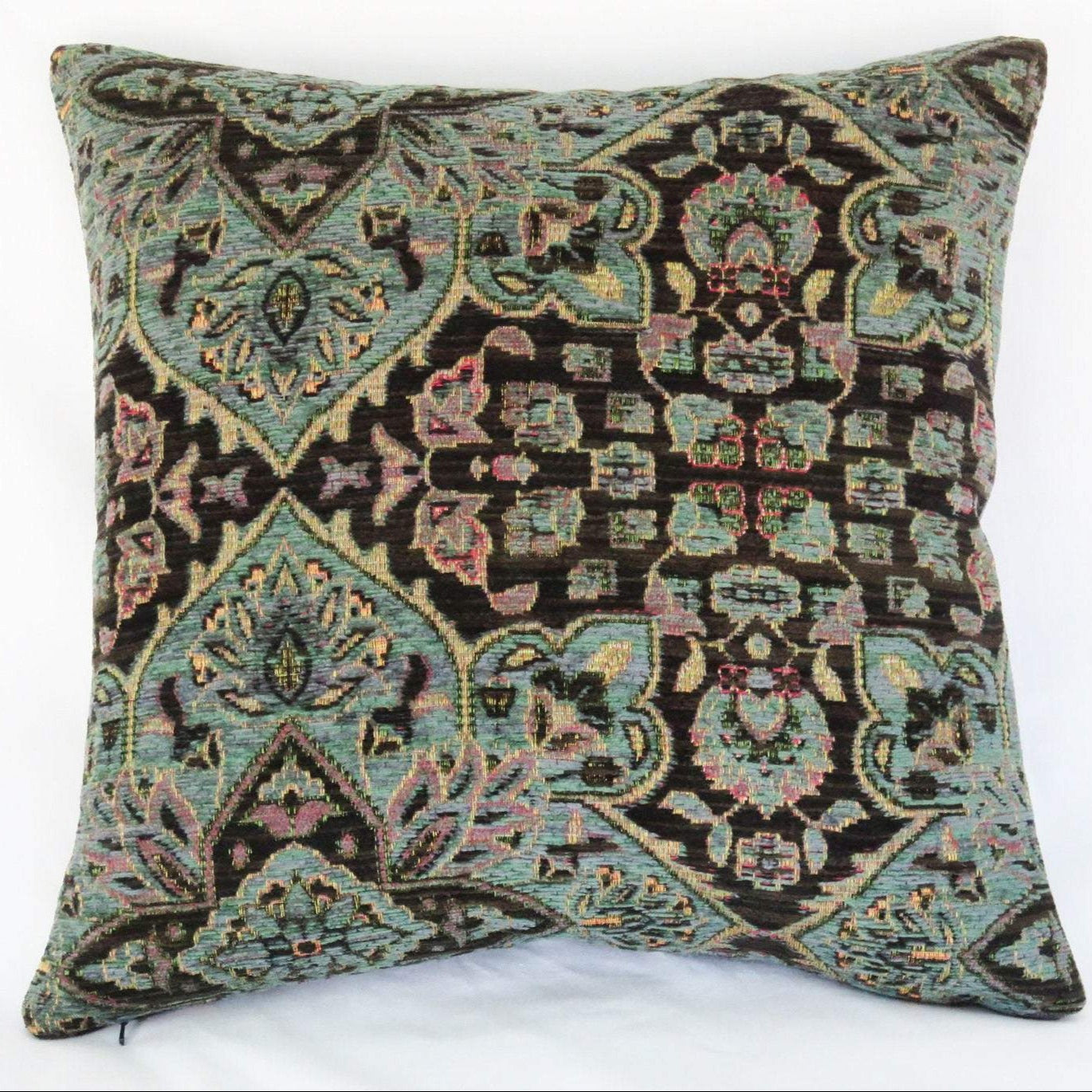 teal and dark brown chenille medallion pillow cover