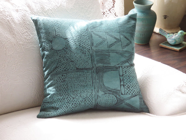 teal green tribal block print pillow cover