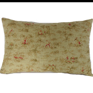 Mini toile vintage look lumbar pillow cover