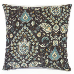 telesto linen teal black kilim pillow cover