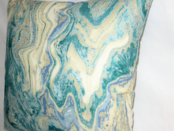 blue green marble print pillow