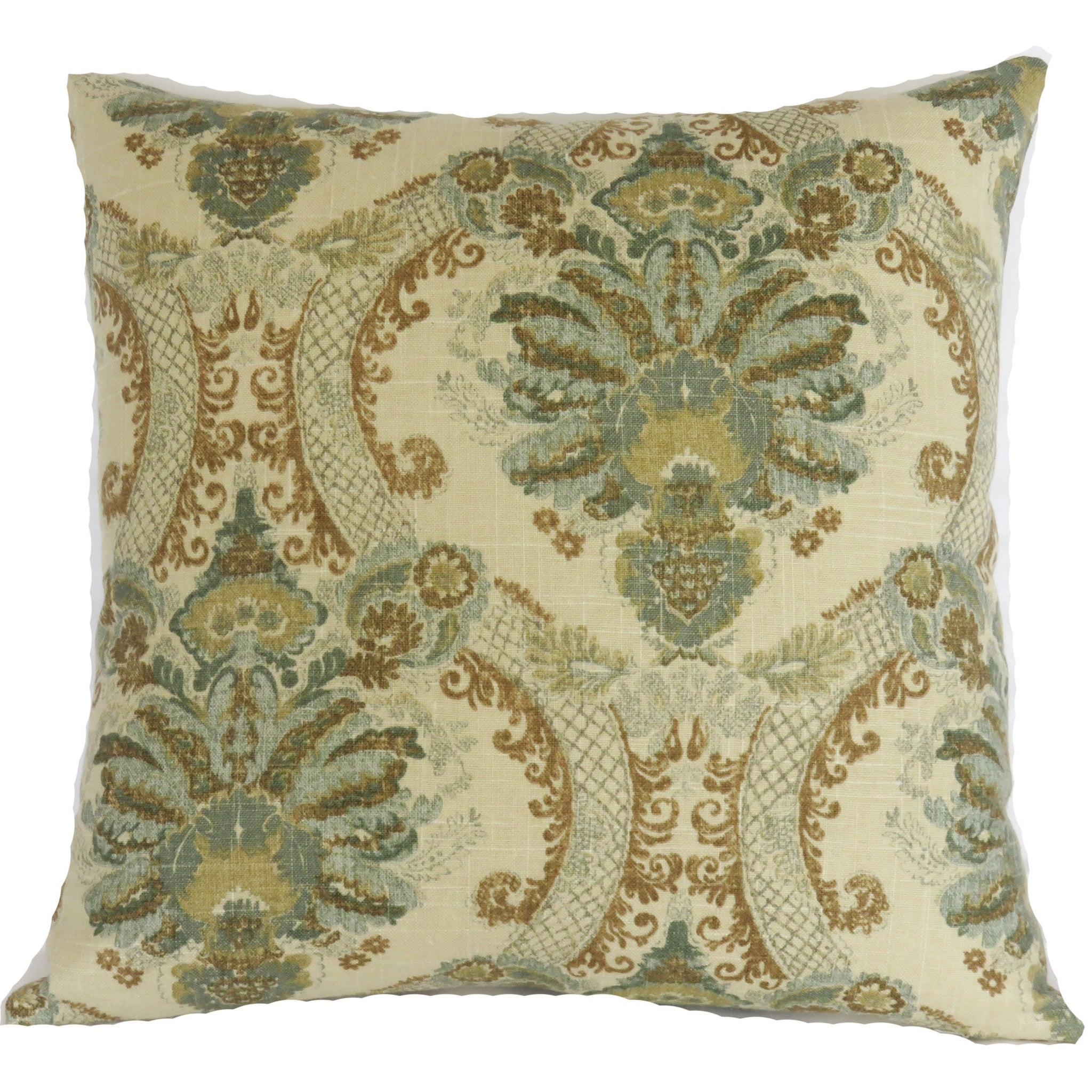 teal and gold damask pillow cover