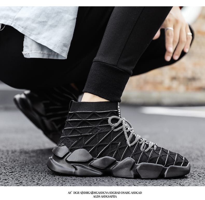 Men Shoes High top Casual Lace up Sneakers Sock Lightweight