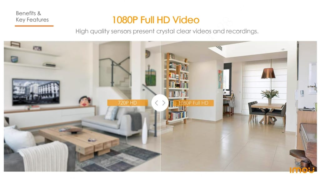 1080P Wifi IP Camera Home Security 360 AI Human Detection