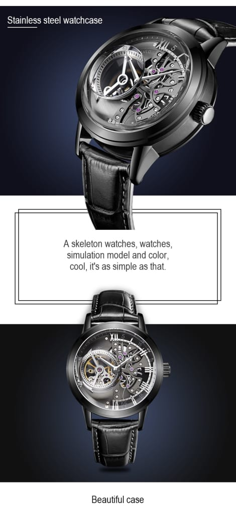 OBLVLO Casual Watches Mens Skeleton Dial Calfskin Leather
