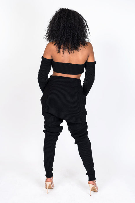 Black Knit Collection Shoulderless Crop