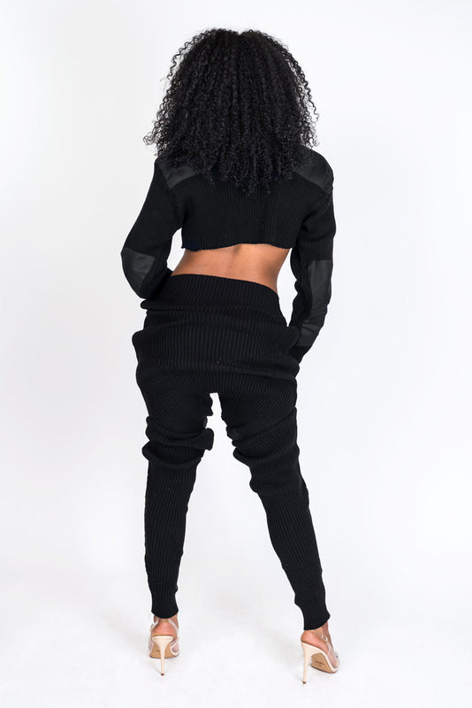 Black Knit Collection Jogger