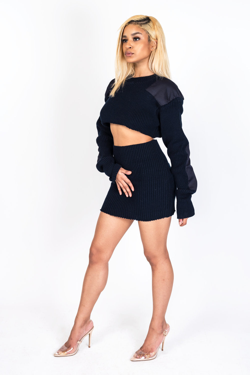 Navy Knit Collection Skirt